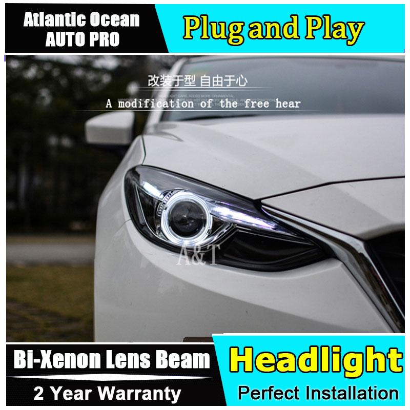 Автомобиль стайлинг фары для Мазда 3 светодиодные фары 2014-2016 новой Mazda3 Ангел глаз LED HID комплект Би-ксенона низкого пучка объектива