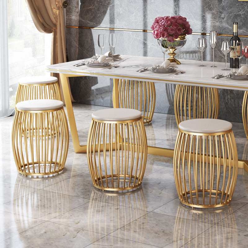 D,2019 Drum Shape Golden Dressing Stool Iron Chair  Round Shoe Bench For Living Dining Room