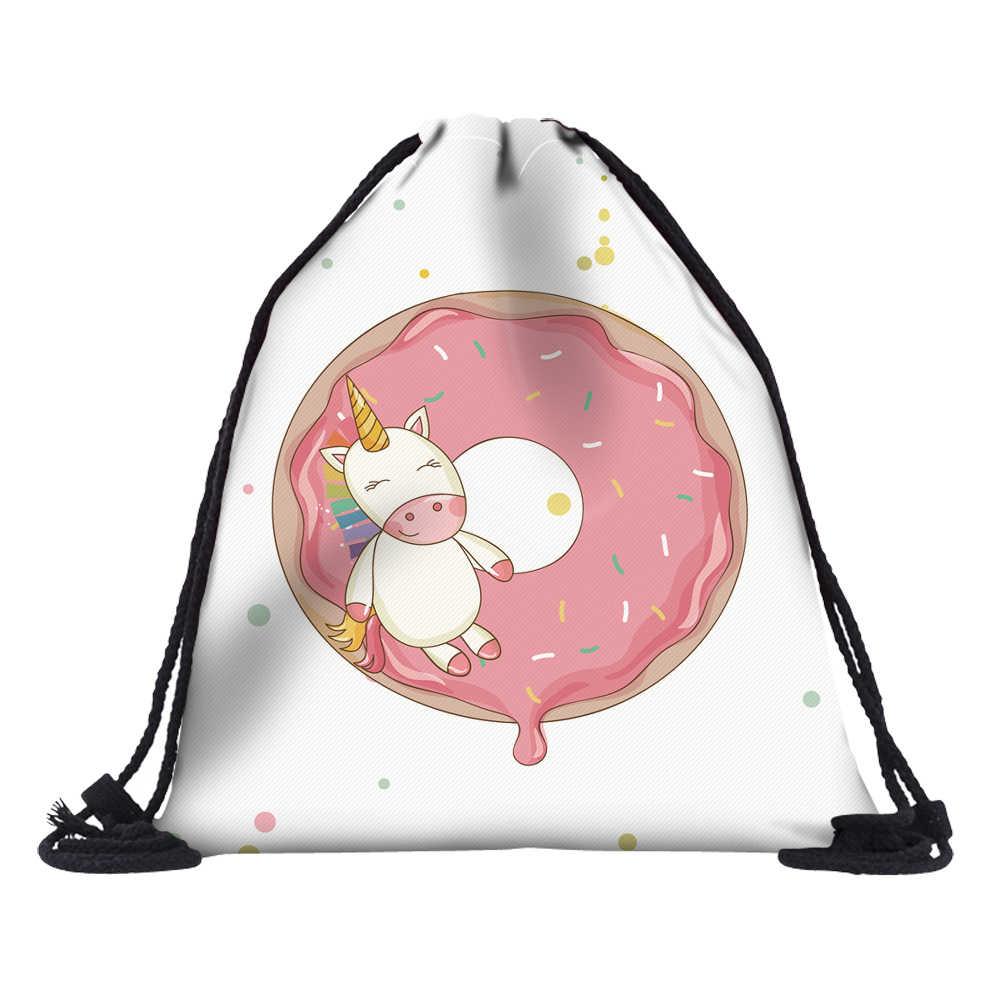 Deanfun 2 шт. пончик-единорог Сумки на шнурке 3D печать школьные сумки для подростков девочек