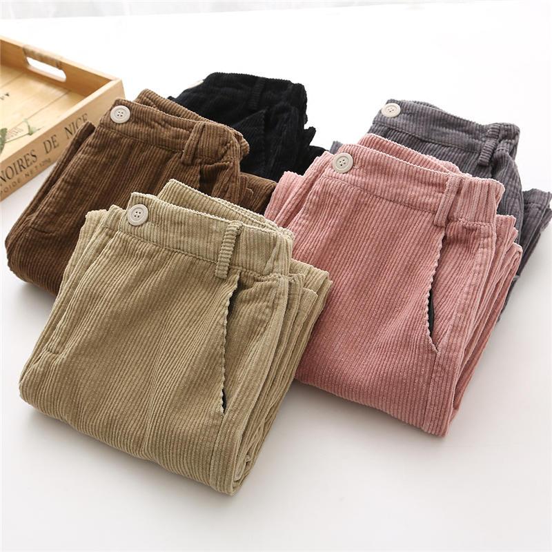 Iselinstorm Comprar Otono Pantalones De Pana Invierno Las Mujeres Vintage Casual Espesar Calido Alto Cintura Pantalones Streetwear Pierna Ancha Q654 Online Baratos