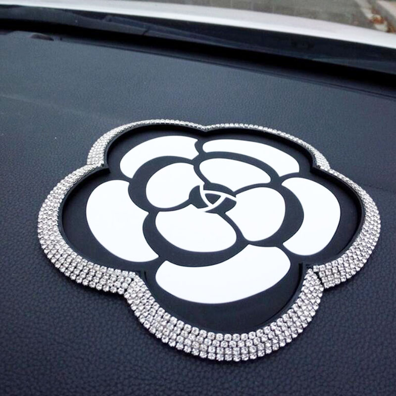 High-grade Camellia Diamond Car Accessories Anti-skid Pad Interior Womens Auto products New style