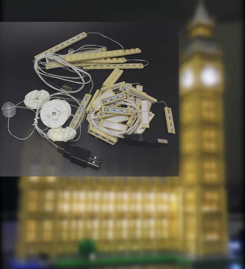 Zestaw oświetlenia LED (tylko światło w zestawie) do lego 10253/17005 miasto Creator Big Ben modelu budynku zestaw bloki cegieł