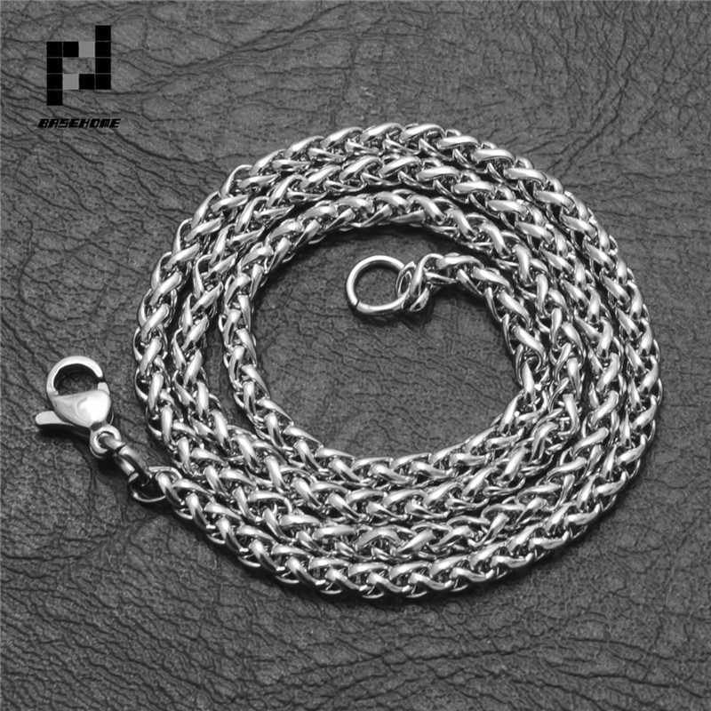 BASEHOME 50/60/70/80cm Length Stainless Steel Chain Lobster Clasps Simple Chains Necklace for Men Party
