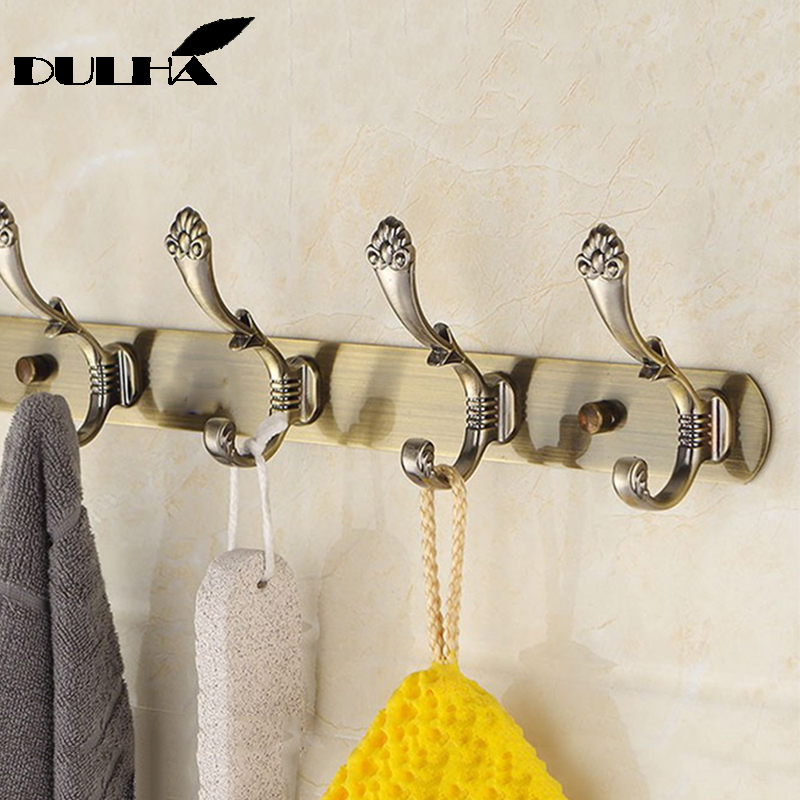 Luxury Bathroom wall Robe 6 Hooks Decorative Metal Brass Antique Hook For Towel Coat Clothes Hanging Storage Rack Home Organizer in Robe Hooks from Home Improvement