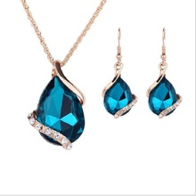 LAQ new fashion Green Crystal Earrings Gold Color Necklaces& linked Geometric Design Wedding Jewelry Sets For Women