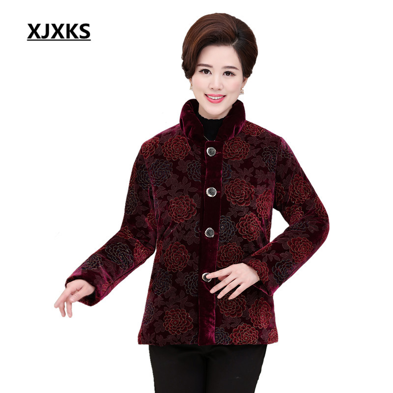 XJXKS Elegant Stand Collar Cotton Coat Winter Slim New 2018   Parkas   Women Large size Jacket Warm Female Outerwear