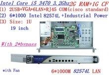 industrial 1U firewall server router 2G RAM 1G CF 2*bypass with 6*1000M INTEL 82574L Gigabit I5 3470 3.2Ghz Mikrotik PFSense ROS