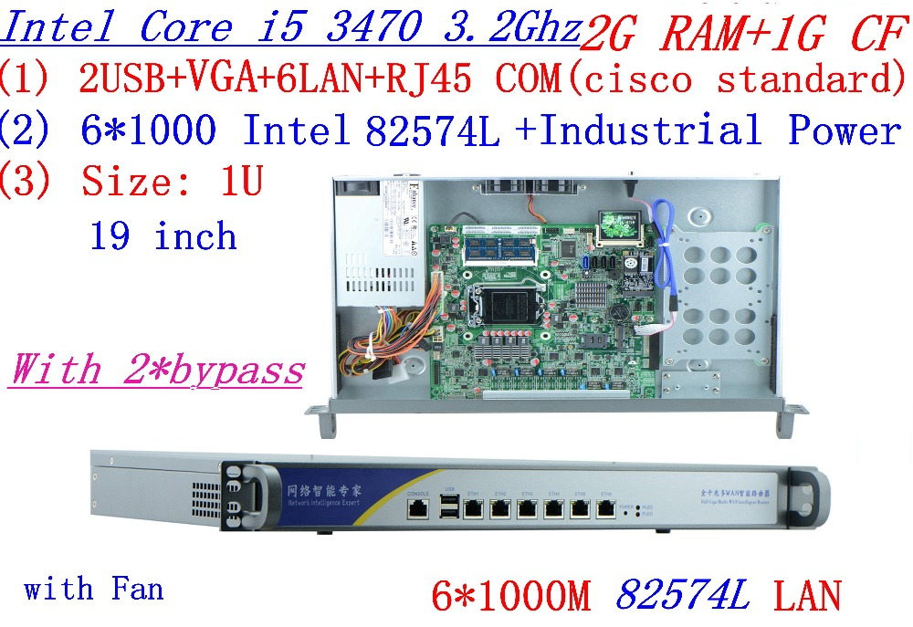 Industrial 1U Firewall Server Router 2G RAM 1G CF 2*bypass With 6*1000M INTEL 82574L Gigabit I5 3470 3.2Ghz Mikrotik PFSense ROS