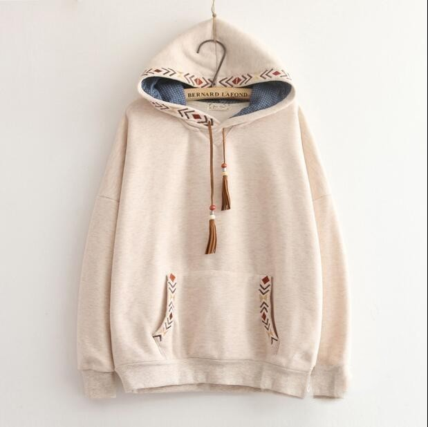 2 colors-- Arrow embroidery tassel hooded thickening sweatshirt mori girl vintage pullover