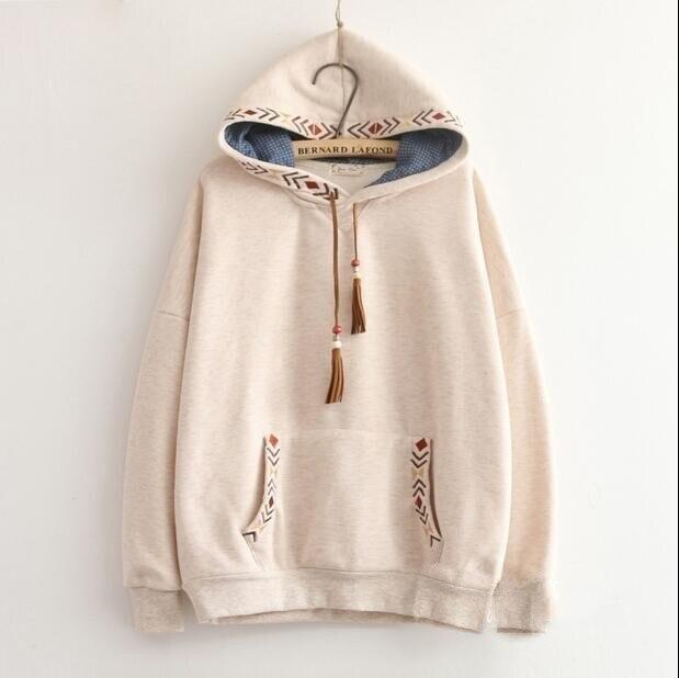 2 colors Arrow embroidery tassel hooded thickening sweatshirt mori girl vintage pullover