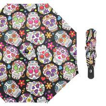Skull Printing Portable Umbrellas Folding Umbrella Men Automatic Umbrella Windproof Women Umbrella Quick Drying Rainy Parasol