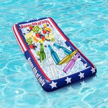 American Flag Inflatable Buffet Serving Tray Cooler Bar Food Drink Holder for 4th of July BBQ Picnic Pool Party