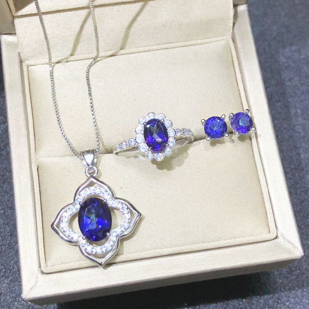 Unique Elegant Gemstone Necklace Stud Earrings Rings 925 Silver Jewelry Set Natural Tanzanite Pendant Necklace Wedding