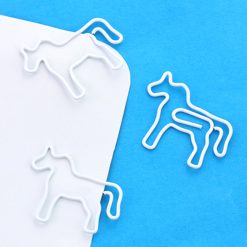 6 PCS/Set Horse Shape Paper Clips White Color Funny Kawaii Bookmark Office School Stationery Marking Clips H0113