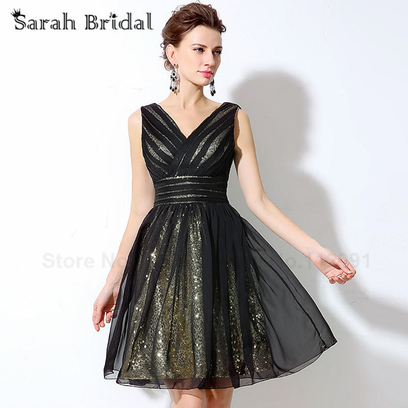 Sexy Deep V-neck Short   Prom     Dresses   2017 Little Black Homecoming   Dress   Tulle with Sequined Sleeveless Girls Party Gowns SD248
