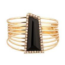 Pulsera Vintage Fashion Luxury Geometric Stone Bracelet Bangles Indian Jewelry Crystal Wide Bracelets for Women Men Jewelry Gift
