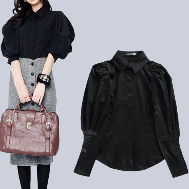 Vintage women palace lantern-long sleeved blouse Black shirt