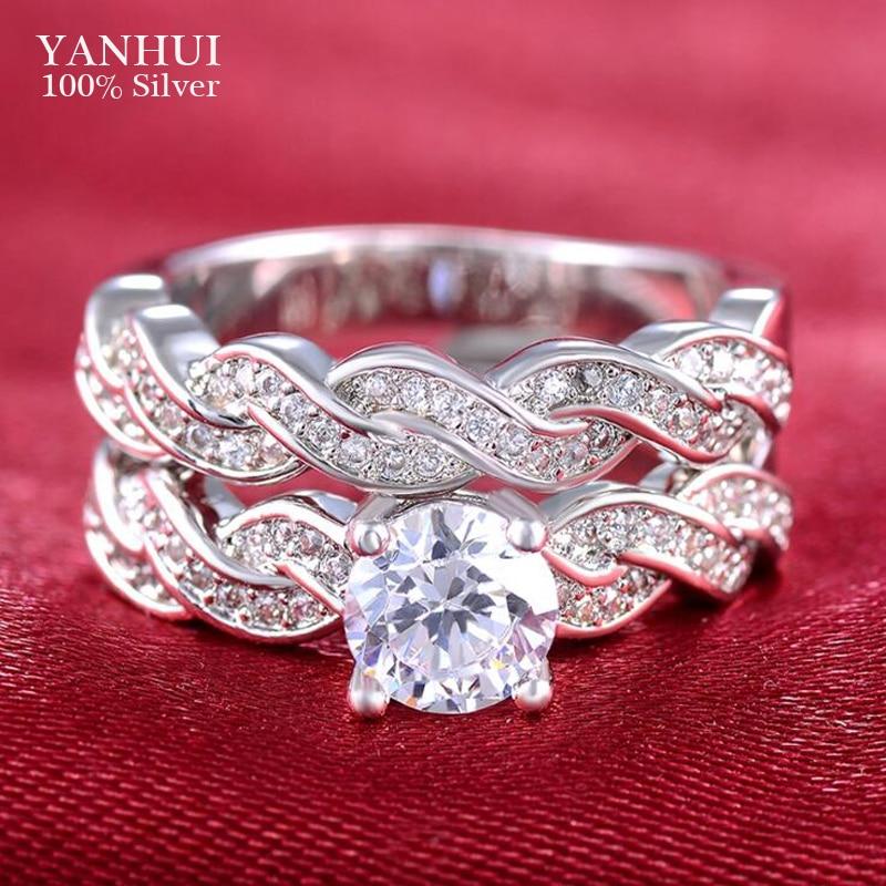 YANHUI Pure 925 Silver Ring Luxury 2pcs Round Bijoux Wedding Ring Set Cubic Zirconia Jew ...