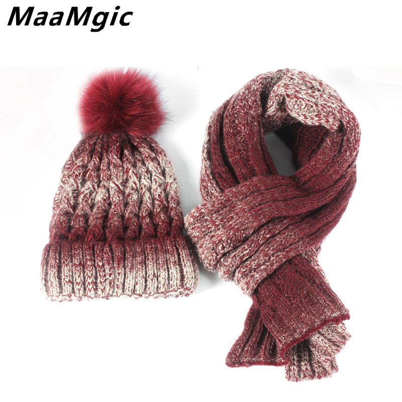 New Fashion Autumn Winter beanie women's hat scarf knitted wool casual cap with fur pompom solid colors thick warm ski girl hat autumn winter male hat plus velvet thick knitted wool hat scarf set men warm beanie fashion snow earflaps plush collar cap sets