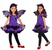 Halloween Vampire Princess Dress Children Halloween Costume Lace Dress Wing Set Kid Party Dress Performance Cosplay