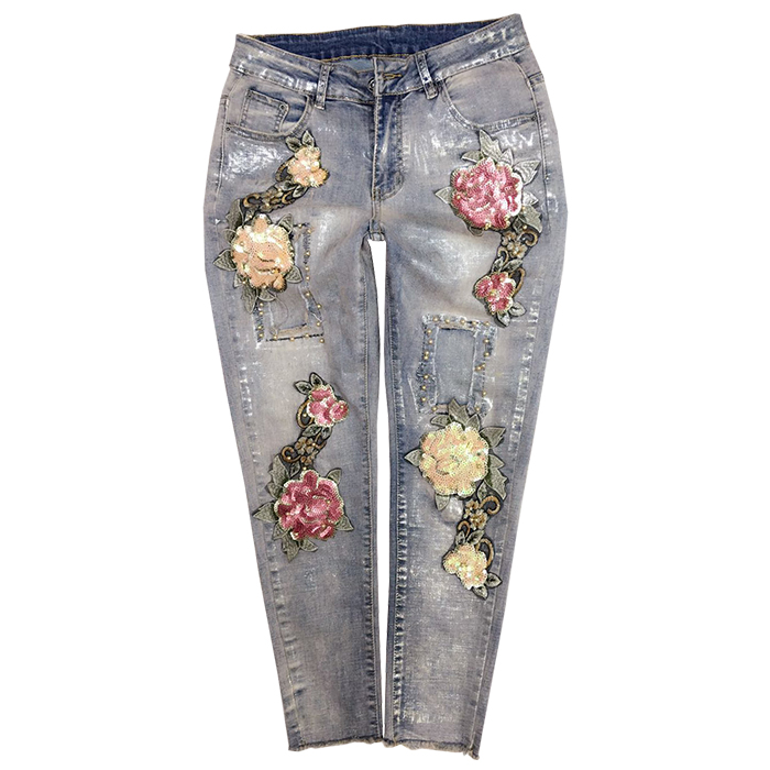 2018 autumn Women Fashion 3D Flower Stretch   Jeans   Casual Slim Pencil Denim Beading Elastic skinny   Jeans   plus size 25-31