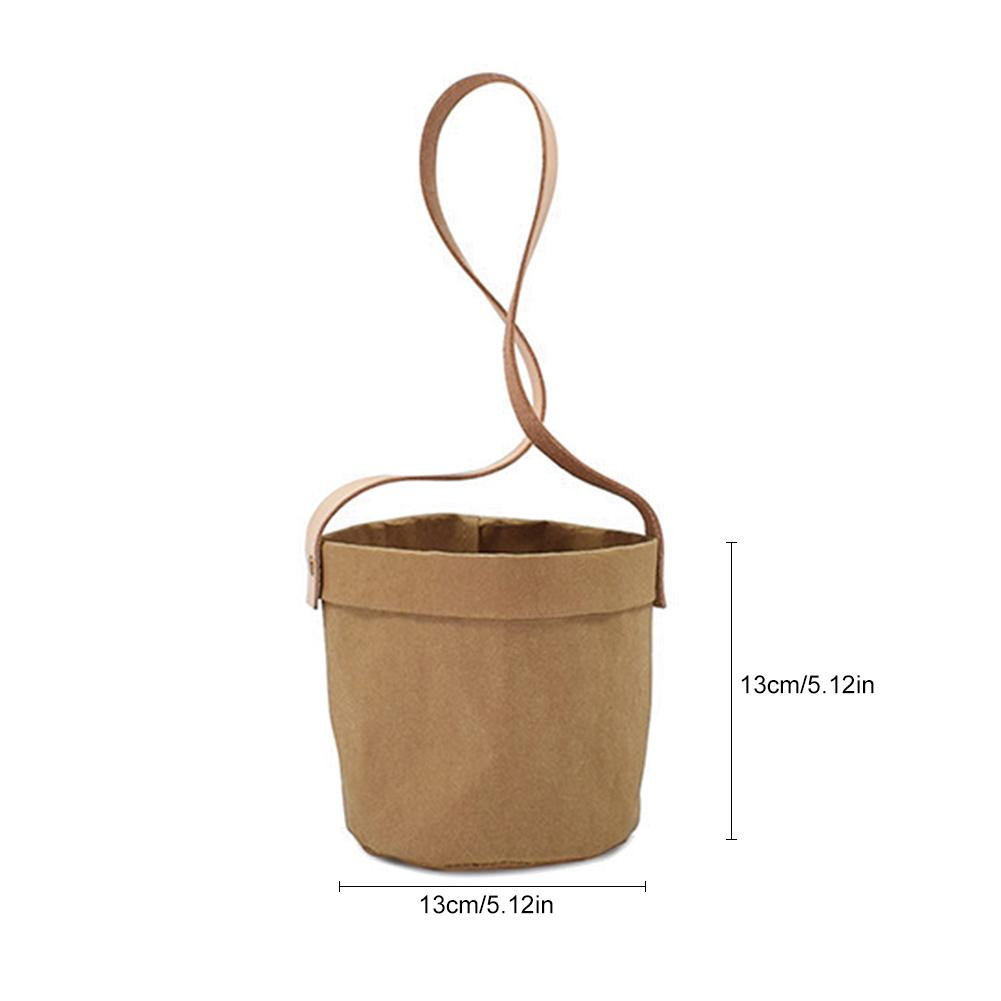 Image 5 - Mini Succulents Planter Pot Washable Kraft Paper Flowerpot Kraft Paper Hanging Flower Pots With Leather Hand Strap Hanging Pot-in Flower Pots & Planters from Home & Garden