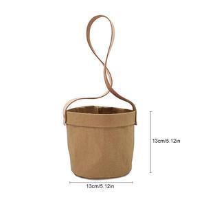 Image 5 - Mini Succulents Planter Pot Washable Kraft Paper Flowerpot Kraft Paper Hanging Flower Pots With Leather Hand Strap Hanging Pot