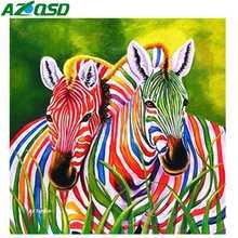 AZQSD Diamond Painting Colorful Animal Zebra Craft Kit Home Decor Rhinestones Pictures Full Display New Embroidery 2019