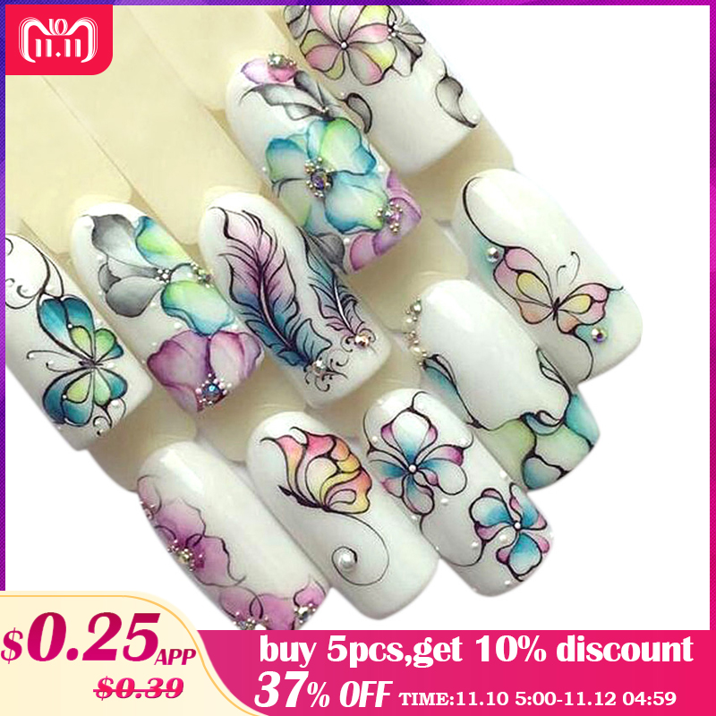 1 Sheets Colorful Purple Fantacy Flowers Nail Stickers Water Transfer Manicure Decals Tip Decoration Stickers For Nails TRSTZ509 100% original xiaomi mijia sign pen 9 5mm durable signing pen premec smooth switzerland refill mikuni japan ink