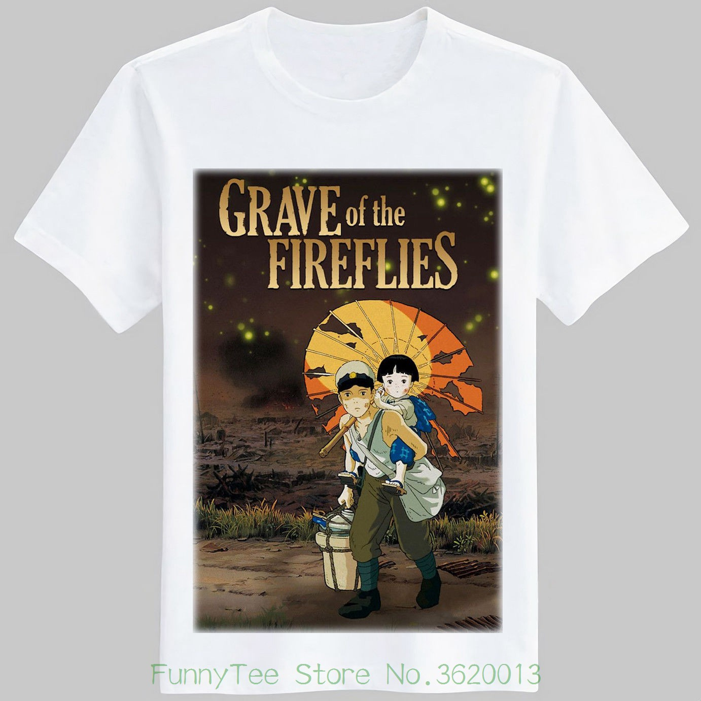 Grave Of The Fireflies Classic 80s Anime Movie Poster T Shirt Size ( S - 2xl ) image