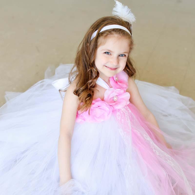 Mode Baby Bloem Tutu Jurk Wit en Roze Bloem en Parel Kant Tutu Jurk - Kinderkleding