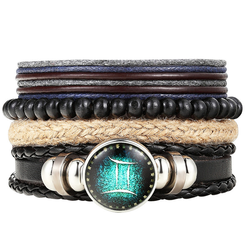 12 Zodiac Signs 4Pcs/set Bracelet 12 Constellation Mens Bracelets beaded Handmade Charm Leather Bracelet Punk Rock Women Jewelry