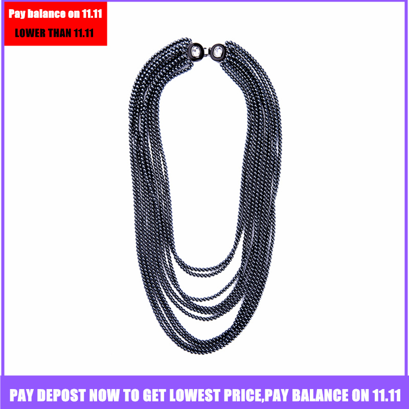 JOOLIM Jewelry Wholesale Shoulder Jewelry Back Jewelry Black Simulated Pearl Layered Cocktail Necklace Christmas Necklace
