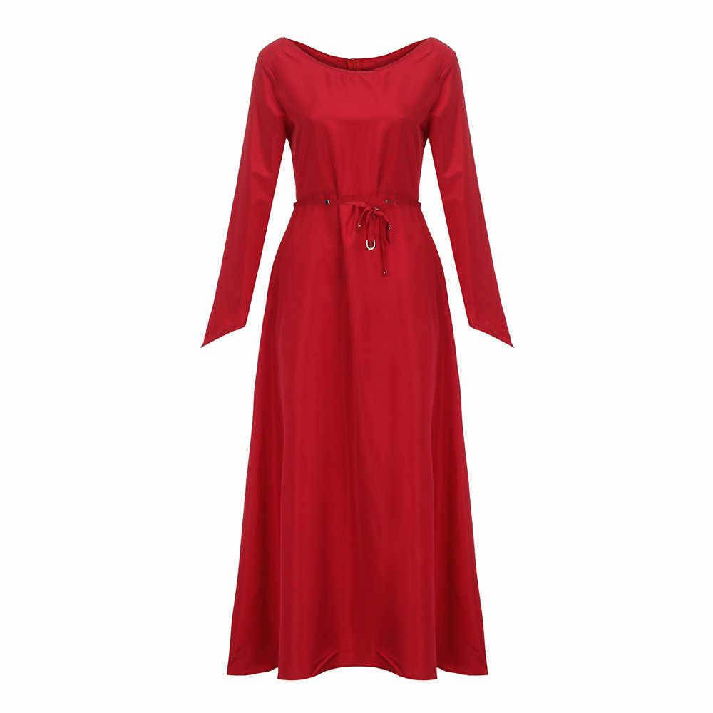 0d967f2ae0f ... Feitong Dress Women 2018 Plus Size Vintage Renaissance Party Dress  Solid Long Sleeve Bandage Long Maxi ...