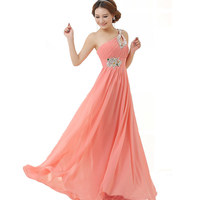 Elegant One Shoulder Beaded Long Chiffon Gown Homecoming Dresses 2015