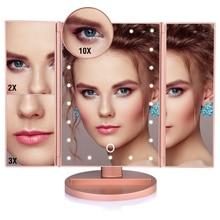 22 LED Makeup Mirror Light 3 Folding Magnifying Vanity Mirror Cosmetics 1X/2X/3X/10X Magnifier Touch Screen Table Desktop Lamp
