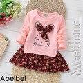 2016 новое поступление весна девушки цельный одеваются розовый цвет детям лоскутное стиль одежды Colthes для детей девочка бесплатная доставка