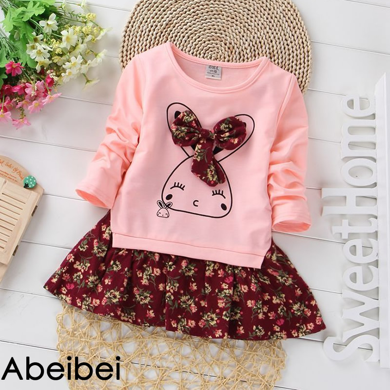 2016 New Arrival spring girls One-Piece Dress Pink color Children patchwork style dress Colthes For Kids Baby girl Free Shipping