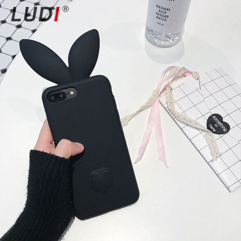 LUDI 3D Cute Rabbit Ear Phone Case For iPhone X 8 7plus Soft Silicon 6s 6 plus 5S SE Pink Black Girl Cover 8plus