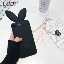 LUDI 3D Cute Rabbit Ear Phone Case For iPhone X 8 7plus Soft Silicon 6s 6 plus 5S SE Pink Black Girl Cover 8plus