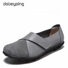 Dobeyping chaussures de couture pour femmes, chaussures de printemps automne en cuir véritable, plates, grandes tailles 35 44, sans lacet