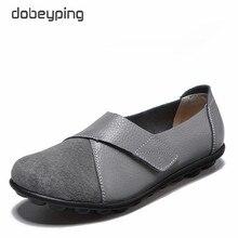 Dobeyping zapatos de primavera otoño planos de piel auténtica para mujer, mocasines sin cordones, mujer, costura, zapato grande 35 44