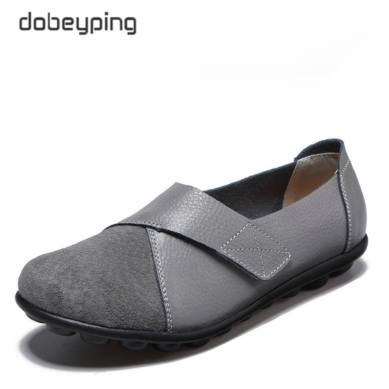 dobeyping New Spring Autumn Shoes Woman Genuine Leather Women Flats Slip On Womens Loafers Female Sewing Shoe Large Size 35-44