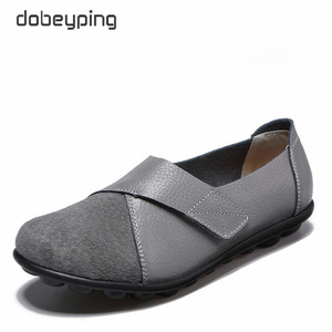 Image 1 - dobeyping New Spring Autumn Shoes Woman Genuine Leather Women Flats Slip On Womens Loafers Female Sewing Shoe Large Size 35 44