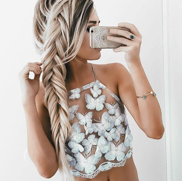 explosion models female fashion halter vest embroidered butterfly sexy blouse casual gatherings preferred tide clothing LH0214