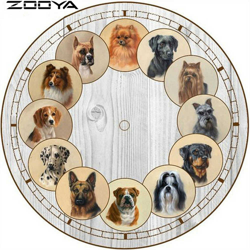 ZOOYA DIY 5D Diamond Painting Cross stitch Dog Clock Needlework Diamond Embroidery Pattern Hobbies and Crafts Home Decor R1045