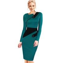 Black Dress Tunic Women Formal Work Office Sheath Patchwork Line Asymmetrical Neck Knee Length Plus Size Pencil Dress B63 B231 6
