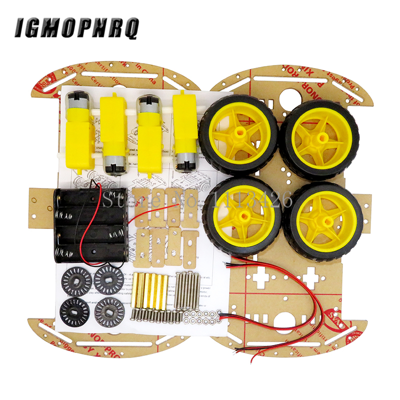 Smart Car Kit 4WD Smart Robot Car Chassis Kits with Speed Encoder and Battery Box for Diy Kit