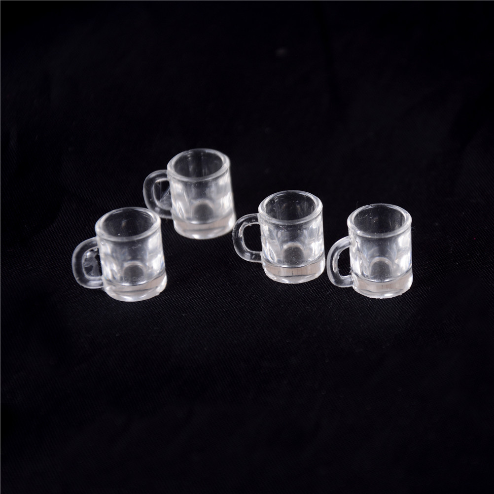 4Pcs 1/12 Dollhouse Miniature Resin Beer Mugs Cup Classic Toys Christmas Gift Pretend Play Classic Toys For Children Kids
