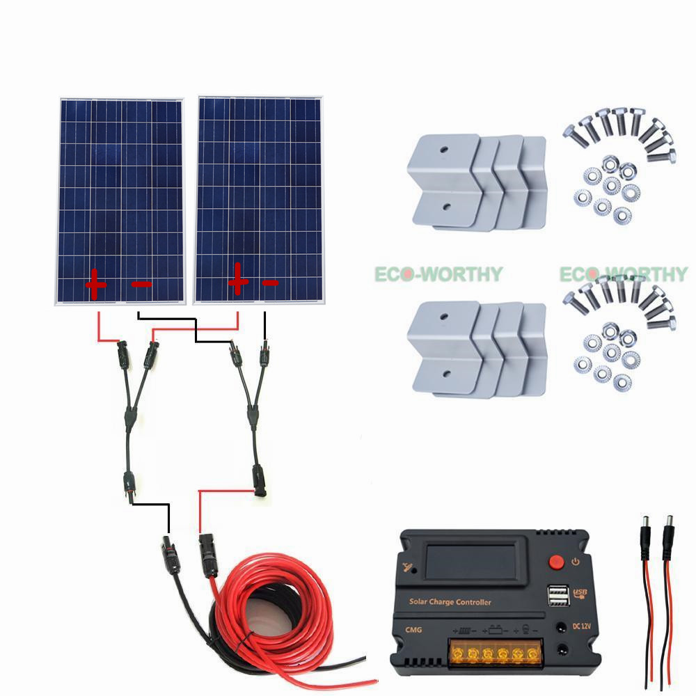200W Solar System Kit 2pcs 100W Solar Panel 20A CMG Controller for Home Roof Car Solar Generators 200w 2 100watt solar panel kit w mppt controller for 24v rv boat caravan system solar generators